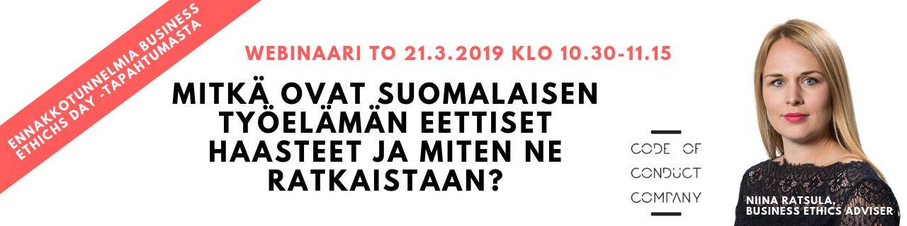 WEBINAARI: Miten ratkaistaan suomalaisen työelämän eettiset haasteet?